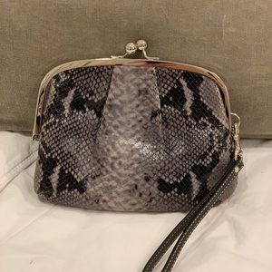 Coach Snakeskin Leather Kiss Lock Wristlet